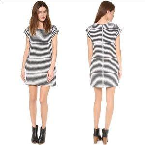 Madewell zipline black and white stripped dress